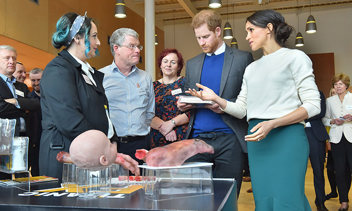 Titanic FX founder and MD Nuala Campbell and entreprenuer in residence Eoin Lambkin walked Meghan and Harry through their work with prosthetics while the couple visited Catalyst Inc., Belfast's next generation science park.