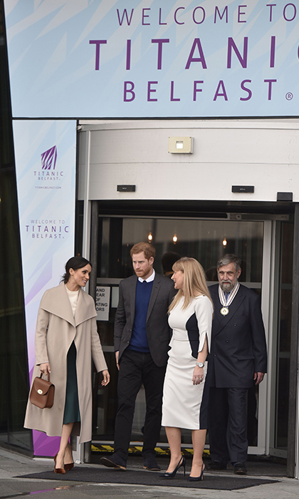 Prince Harry and Meghan left the iconic Titanic Belfast, the city's top tourist attraction. The duo enjoyed the Titanic experience and 3D virtual tour as well as galleries that explore the history of the RMS Titanic, which was built in Ireland. 