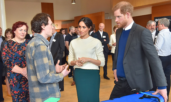 Chris Martin, co-founder of Skunk Works, chatted with the prince and former <em>Suits</em> star during their visit to Belfast's Catalyst Inc. science park.