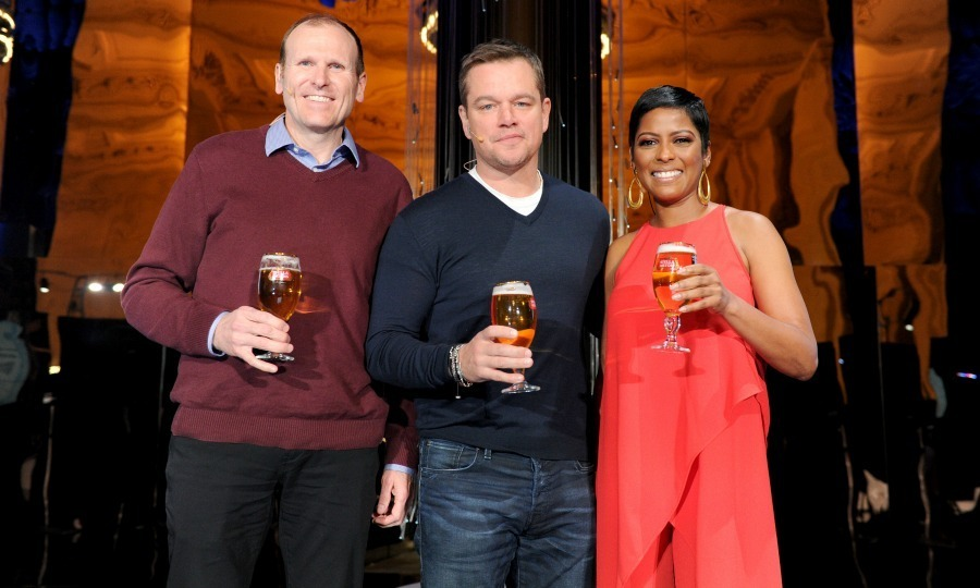 "Ripple effect! Water.org co-founders Matt Damon and Gary White joined Stella Artois and journalist Tamron Hall to discuss the impact of the brands partnership with Water.org. The group, which strives to end the global water crisis, unveiled ""Water Ripples by Stella Artois"" at Grand Central Terminal in NYC on Mar. 22. 