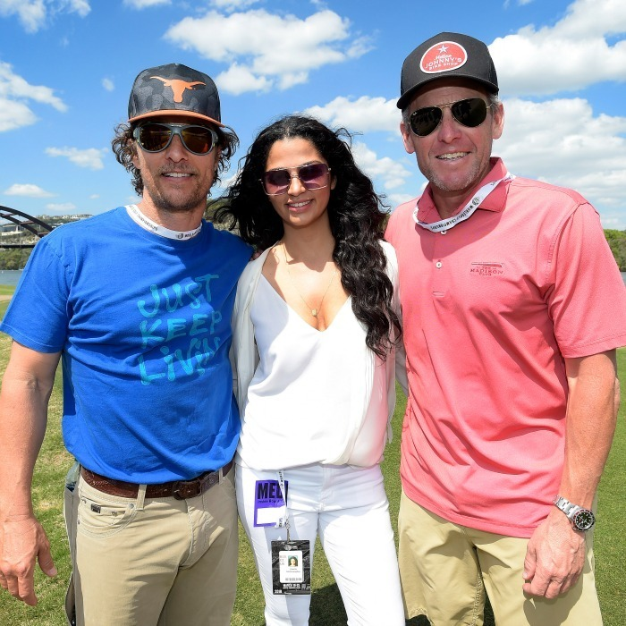 Par 3! Matthew McConaughey and his wife Camila hit the green with their good friend Lance Armstrong. The trio cruised into the World Golf Championships-Dell Technologies Match Play on Mar. 22 to enjoy the tournament in Matt and Lance's home state of Texas.