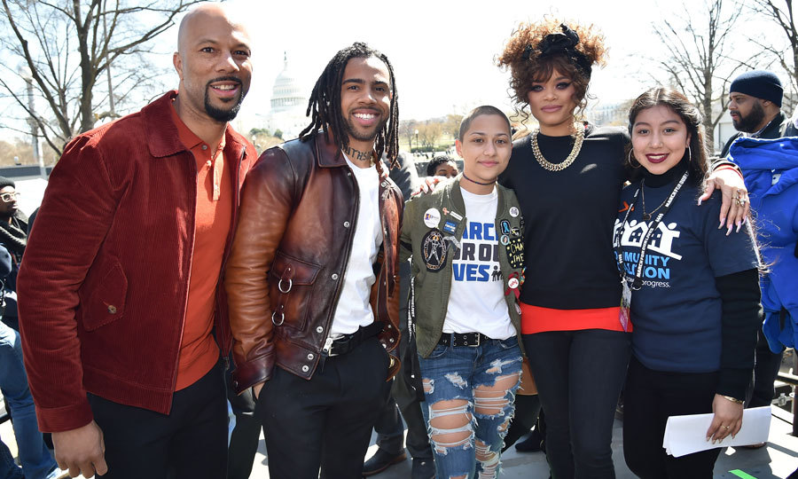 Common, Vic Mensa and Andra Day stood with student activists Emma Gonzalez and Edna Chavez at the D.C. march.
