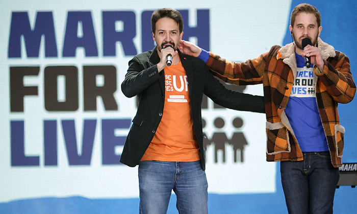 "Lin-Manuel Miranda and Ben Platt sang their song they released ahead of the march ""Found/Tonight."" 
