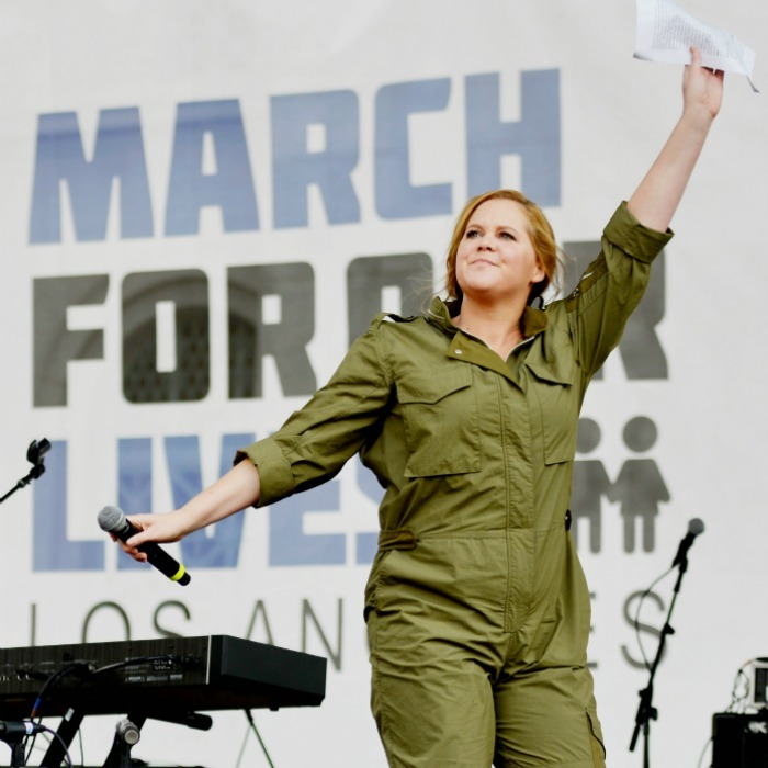 "Amy Schumer delivered a passionate plea at the march. In a similar vein, she wrote on Instagram:  ""Today I March for the students of Parkland and everywhere and I March for Mayci Breaux and Jillian Johnson. We need to digitize gun-sales records, mandate universal background checks, close gun-show loopholes and straw-man purchases, ban high-capacity magazines, and push for a comprehensive assault weapons ban with an extensive buyback system. Thank you Emma Gonzalez!""
