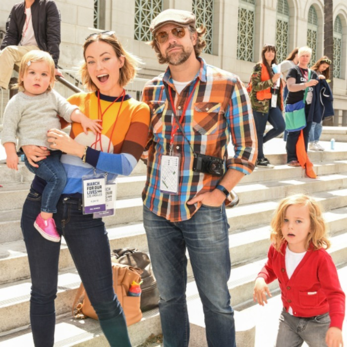 Olivia Wilde and Jason Sudeikis showed their support as a family, bringing their kids Otis and Daisy Sudeikis to the march in L.A.