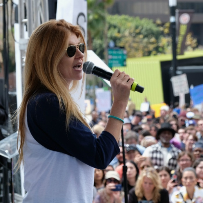"Activist and actress Connie Britton addressed the crowd and later shared more thoughts on Instagram. She wrote: ""Humbled by the leadership of students and youth around the country today like these from @brownissues. Thank you for having the courage to go where so many far beyond your years won't dare. Now the rest of us, let's be reasonable enough to follow.""