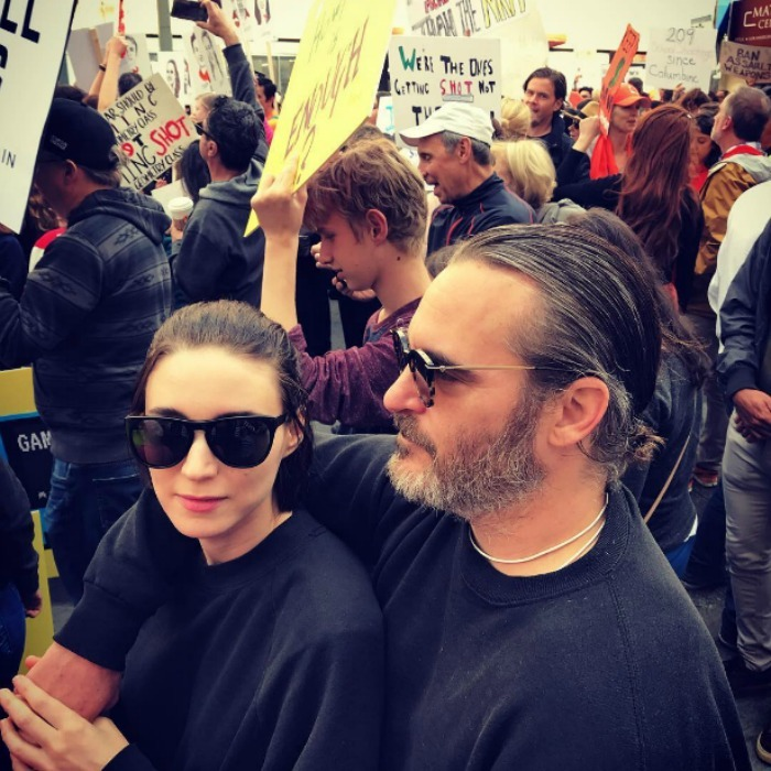 Joaquin Phoenix and Rooney Mara made for an incognito couple at the march. The actor's sister Rain shared a photo of the pair marching to her Instagram.