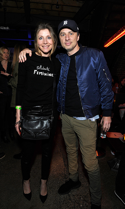 <p>Sarah Chalke and Zach Braff stopped for a photo at Spotify's 'Louder Together' event on March 24.</p>