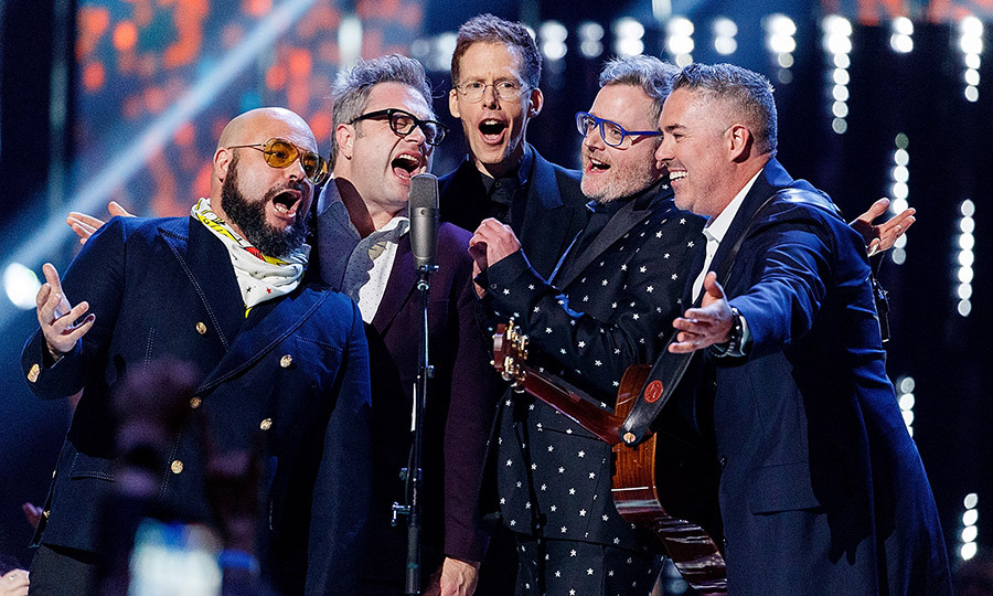 <p>Tyler Stewart, Steven Page, Jim Creeggan, Kevin Hearn and Ed Robertson of Barenaked Ladies performed an exciting set at the JUNOs!</p>