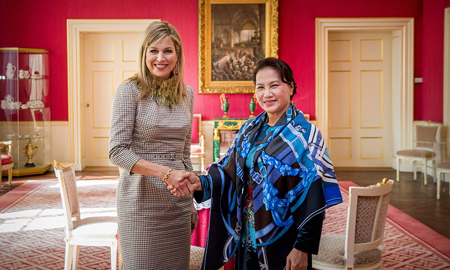 <p>Queen Maxima welcomed Nguyen Thi Kim Ngan, chairwoman of the National Assembly of Vietnam, at the Palace Noordeinde in The Hague on March 26.</p>