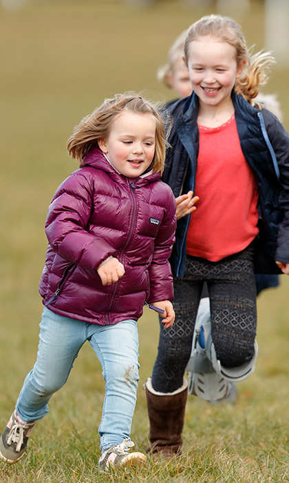 <p>Mia Tindall and Savannah Phillips shared some laughs and playtime while at the horse trials.</p>
