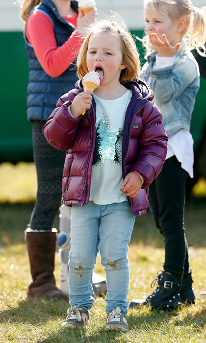 <p>Mia Tindall chowed down on an ice cream cone at the Gatcombe Horse Trials on March 25.</p>