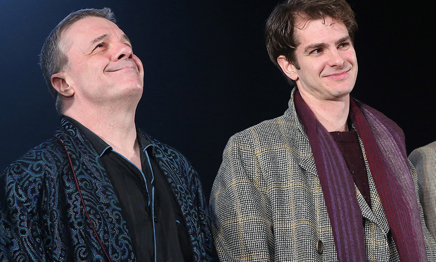 <p>Nathan Lane and Andrew Garfield took to the stage for their opening night curtain call in <em>Angels in America</em> on Broadway at The Neil Simon Theatre on March 25.</p>