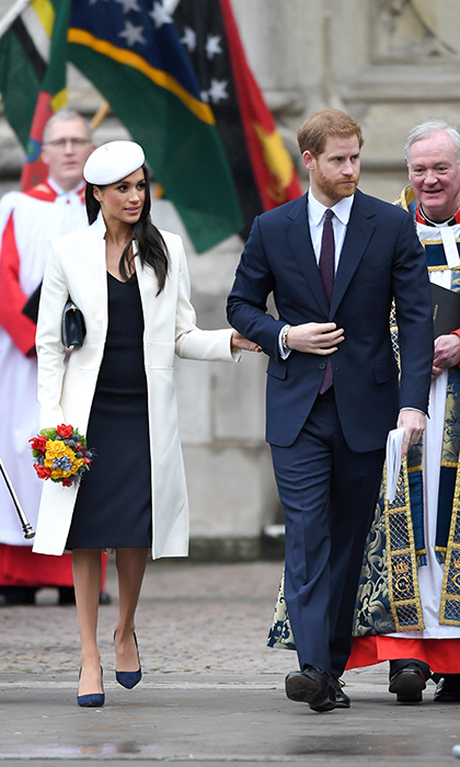 <p>Looking dapper  as ever, the former actress and her royal beau walked arm in arm while attending the Commonwealth Day service on March 12.</p>