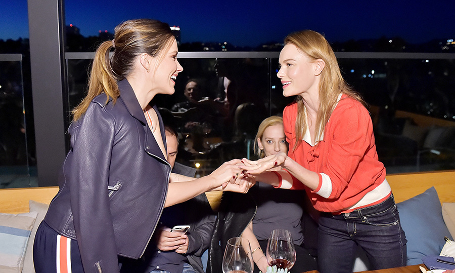 <p>Sophia Bush and Kate Bosworth shared a friendly moment at the Terra grand opening on March 28.</p>