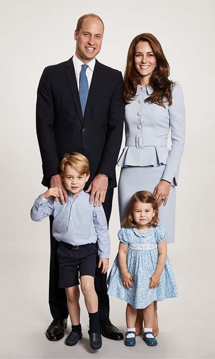 William and Kate made for a blue-tiful family along with Prince George and Princess Charlotte in their 2017 Christmas portrait, shot by royal photographer Chris Jackson. In the snap, the family complemented one another in matching powder blue, with Kate wearing a Catherine Walker peplum jacket and skirt, Prince George dressed in a Pereprine royal blue and white mandarin collar shirt and Princess Charlotte in a floral blue frock with a matching bow in her hair.
