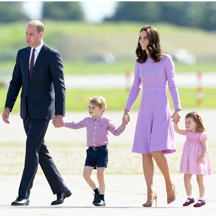 On day three of their visit to Germany in July 2017, the Cambridges were all about pinks and purples. While Duchess Kate was in lilac Emilia Wickstead – and the kids' outfits had touches of the hue – Prince William's burgundy tie gave his outfit a subtle pop of colour.