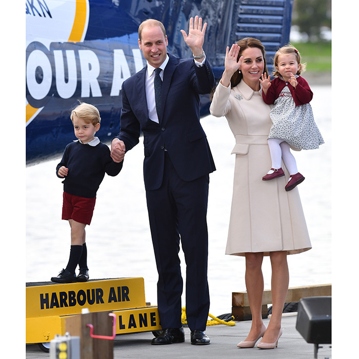 Back in Oct. 2016, we loved the Cambridges in burgundy, navy and cream! Kate was clad in another Catherine Walker design as the well-heeled family waved goodbye to Canada in Victoria, BC after completing their royal tour of the North American country as a foursome.