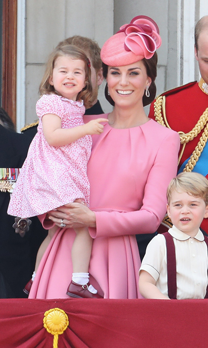 Like mother, like daughter! Duchess Kate, in Alexander McQueen, and Princess Charlotte were pretty in pink on the balcony of Buckingham Palace during the Trooping the Colour parade in June 2017.