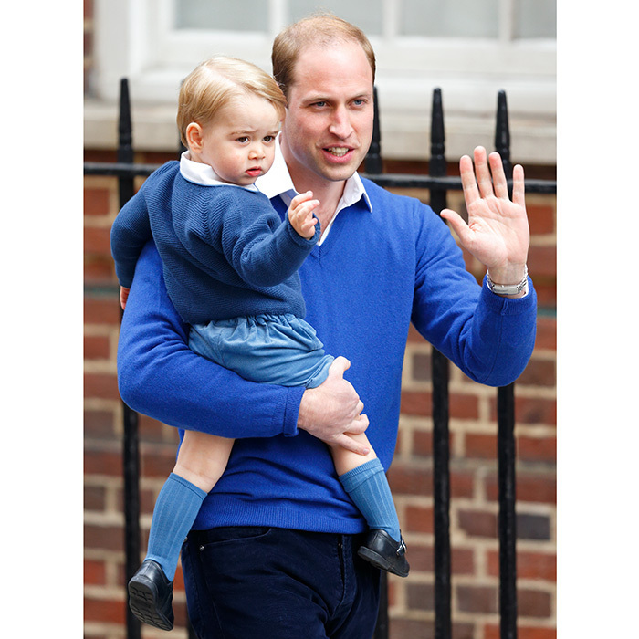 Prince William doesn't want to be left out of the parent-child fashion pairings! The future king and his little prince were beyond cute when they arrived in matching sweaters and white collared shirts to see newborn Princess Charlotte and mom Kate at the Lindo Wing at St Mary's Hospital on May 2, 2015 in London.