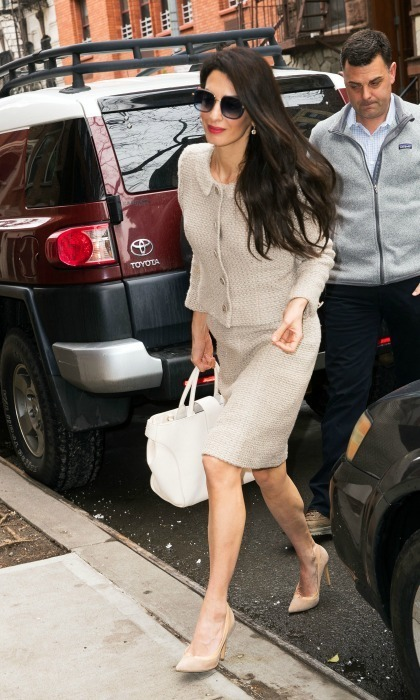 <p>Once again, Amal Clooney flaunted some enviable work wardrobe as she stepped out in New York City. The 40-year-old human rights attorney donned a vintage-styled Chanel suit and some matching nude Jimmy Choo heels on Thursday, March 29, 2018. George Clooney's powerful wife, who was confirmed to be working on a very high-profile case representing two journalists jailed in Myanmar, certainly seemed like she meant business in her sixties-inspired tweed ensemble. She paired the look with a white Roger Vivier tote and dark sunglasses, and kept her signature flowing brunette locks down.</p>