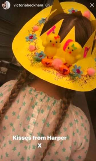 <p>We love when Victoria Beckham shares cute snaps of her daughter, Harper! In this Instagram story, her 6-year-old wore a homemade Easter hat over her face.</p>