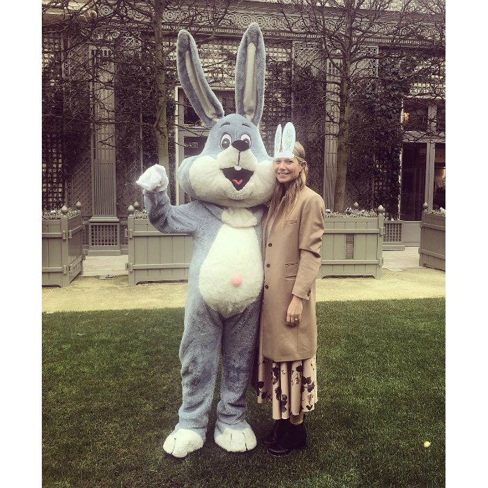 """Joyeuses Pâques!"" Gwyneth Paltrow wrote on Instagram alongside a photo of the actress in bunny ears posing with the Easter Bunny.