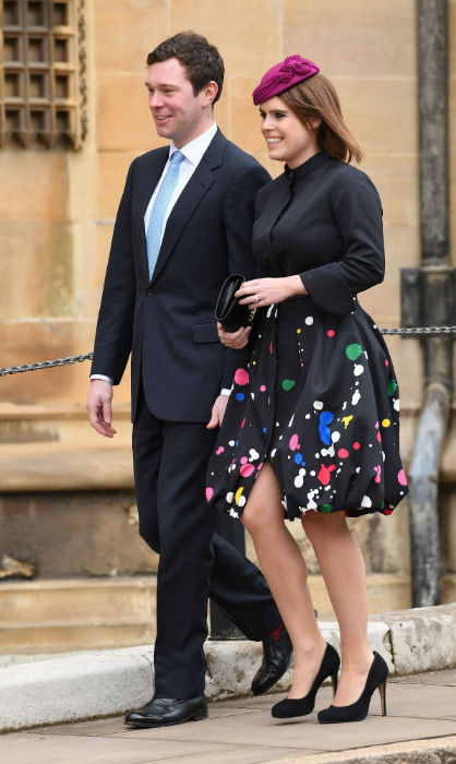 <p>Princess Eugenie and fiancé Jack Brooksbank were among those at the Easter day church service in Windsor on Apr. 1, looking a picture of happiness as the future bride and groom walked to the chapel where they'll tie the knot this fall. Eugenie's amazing Oscar de la Renta outfit floored fans!</p>