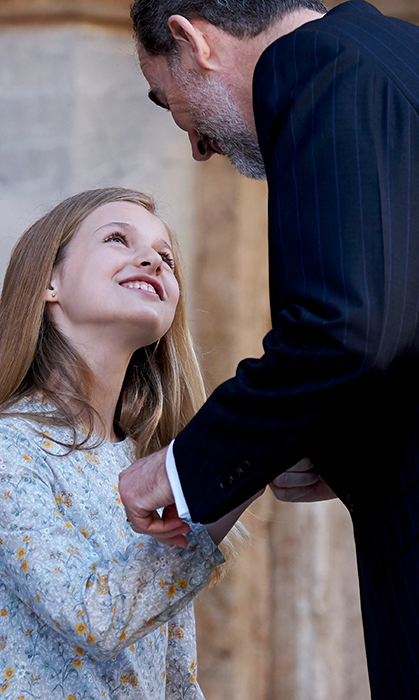 <p>Future monarch Princess Leonor and her father King Felipe shared an adorable moment outside the church on Easter Sunday.</p>
