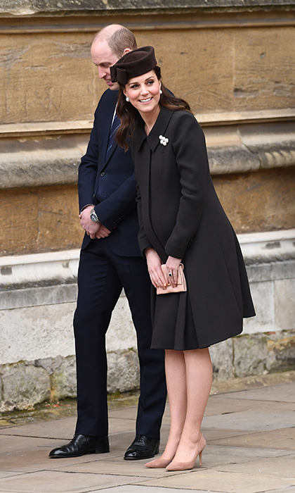 Duchess Kate, with husband Prince William at her side, joined the British royal family for their annual Easter outing at St George's Chapel on April 1 in Windsor, England. The pregnant mom, who is officially on maternity leave, opted for a Lock and Co. hat and a chocolate-brown Catherine Walker coat that she had worn on St Patrick's Day while pregnant with Princess Charlotte in 2015.