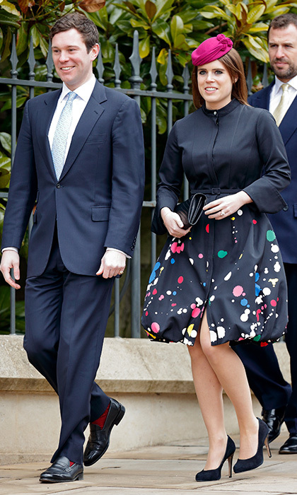 Future royal bride Princess Eugenie looked cheery in a paint-splattered Oscar de la Renta dress and fuchsia Juliette Boterill Millinery hat as she arrived to Easter services with her fiancé Jack Brooksbank. The internet went wild for the $6,250 shirt dress!