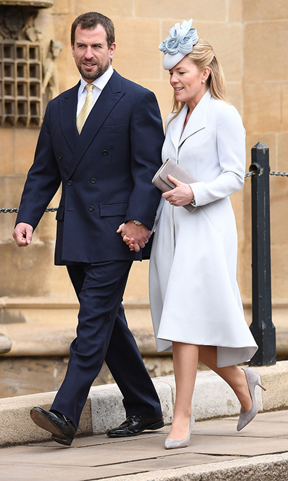 Joined by her husband, the Queen's grandson Peter Phillips, Canada-born Autumn Phillips donned the palest grey from head to toe.