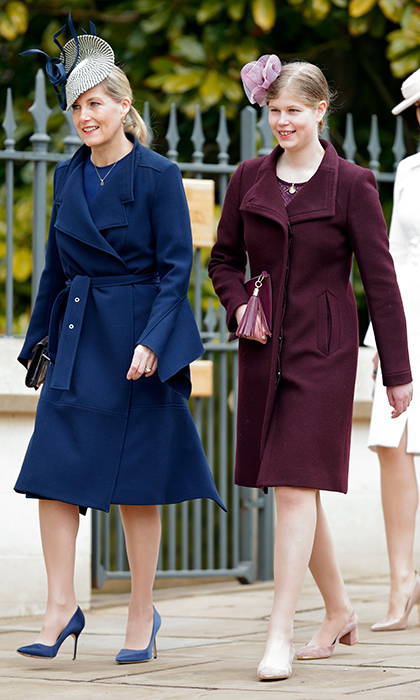 Sophie Wessex walked alongside her daughter Lady Louise Winsdsor, who at 14 is just getting used to wearing high heels! The two royals were in step in, respectively, navy blue and burgundy coats.