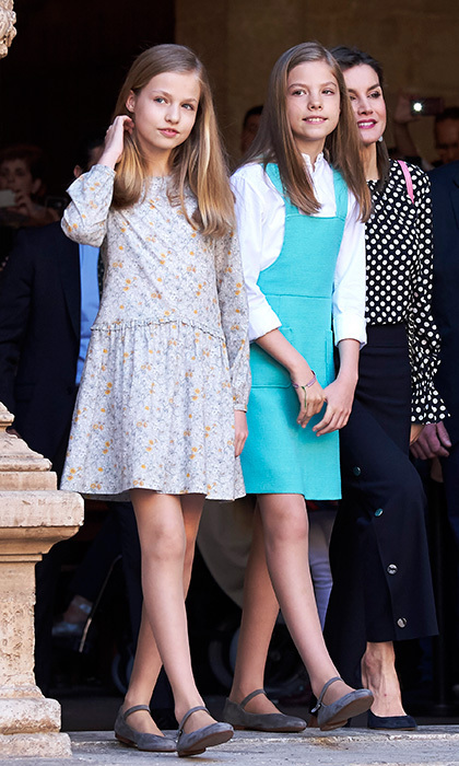 Ten-year-old Princess Sofia, right, and her older sister Princess Leonor, 12, wore different spring looks – but matching Mary Janes – for the church outing.