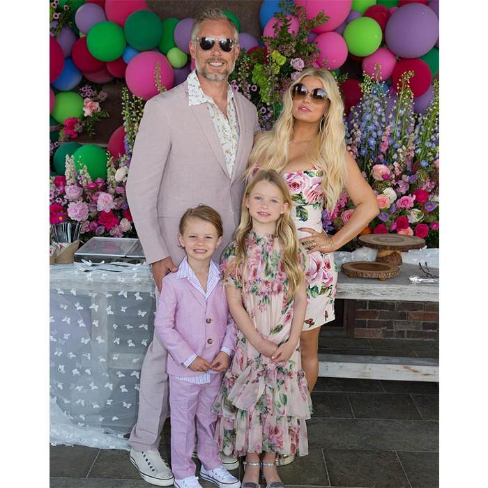 "<p>Jessica Simpson captioned this sweet snap: ""Happy Easter from my family to yours!   #yeswematch #twinning"" The designer and husband Eric Johnson were perfectly coordinated with their adorable kids in pink suits and floral dresses.</p>