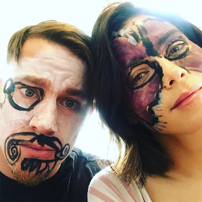 <p>Channing and Jenna's little girl Everly had some fun with face paint this month. Of course, these two have no qualms about poking a little fun at themselves!</p>