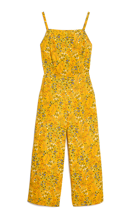 <p>You can't go wrong with a sunflower yellow jumpsuit. The square neckline and micro floral print makes it a wardrobe staple.</p>