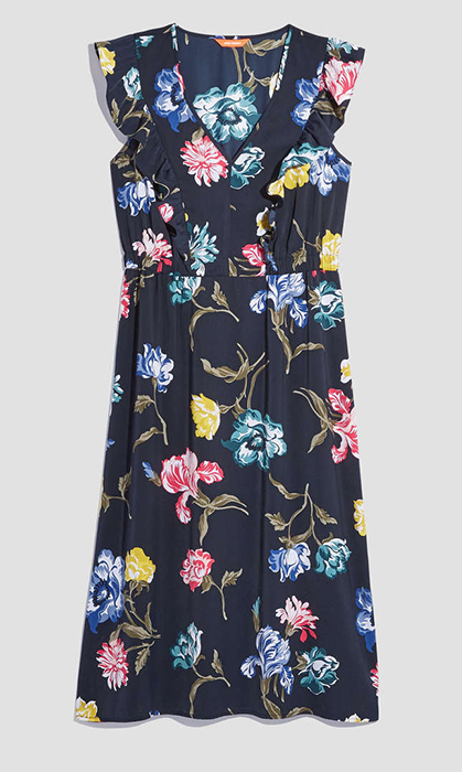 <p>For less than $50, this navy floral number will go the distance – wear it at a wedding and then again to work or weekend bunch. The primary colour print also gives a nod to one of the biggest trends this season.</p>