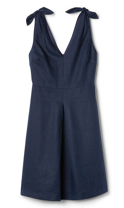 <p>A simple, no-fuss knee-length dress will go with every shoe style or colour. Bonus: the linen fabric makes the dress breathable when the temperature rises.</p>
