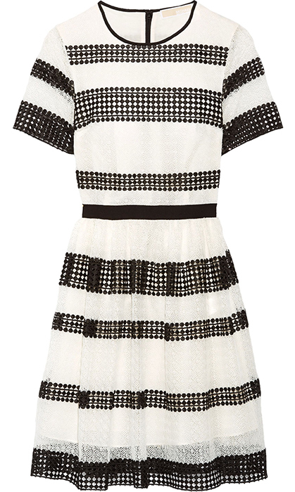 <p>The crocheted lace fit-and-flare dress might be the best way to wear white at a wedding without stealing the bride's thunder. Wear it with a red lip and pointed-toe pumps for a simple yet classic ensemble.</p>