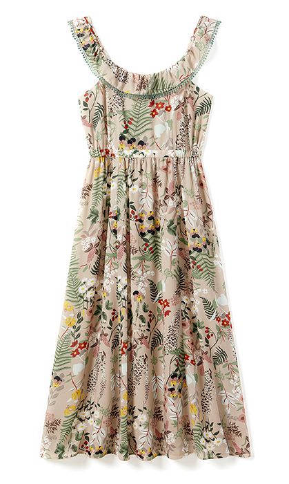 <p>A tropical floral print maxi dress is the quintessential beachside wedding outfit. The best part? The detachable cold shoulder pom pom ruffle so you can instantly refresh your look.</p>