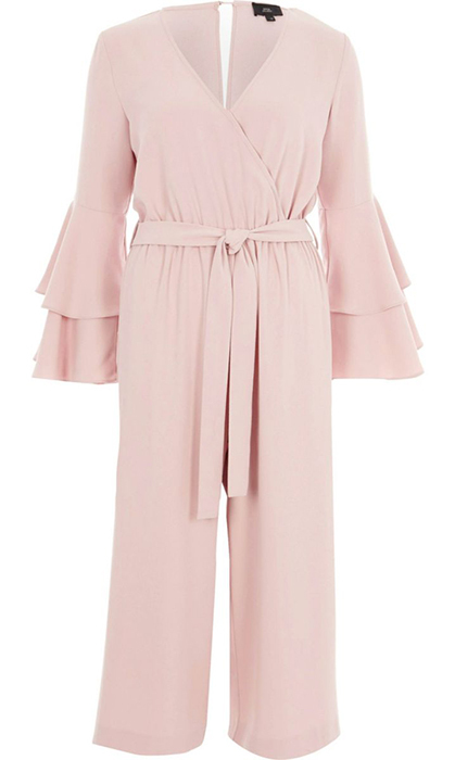 <p>This feminine tie-waist jumpsuit is perfect for romantics who are tired of wearing dresses. The tiered flounce sleeves and culotte style give it an added oomph, making it stand out from your typical jumpsuits.</p>