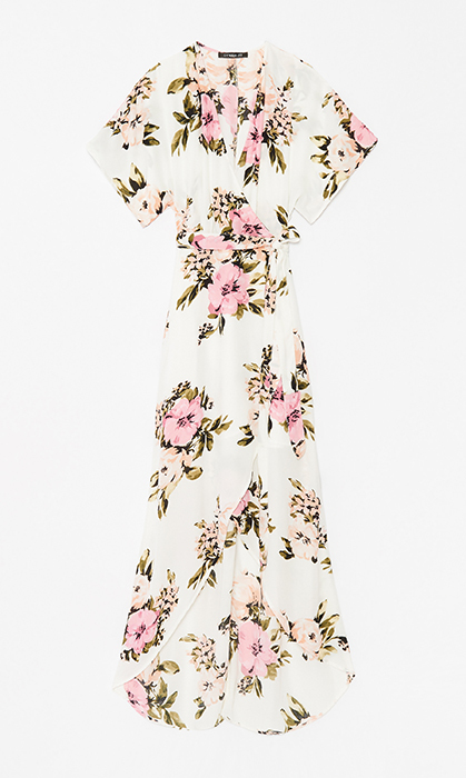 <p>Pair this dreamy floral wrap dress with sandals or mule slides and you've got yourself an outfit that lets you dance the night away and hit the dessert table worry-free.</p>