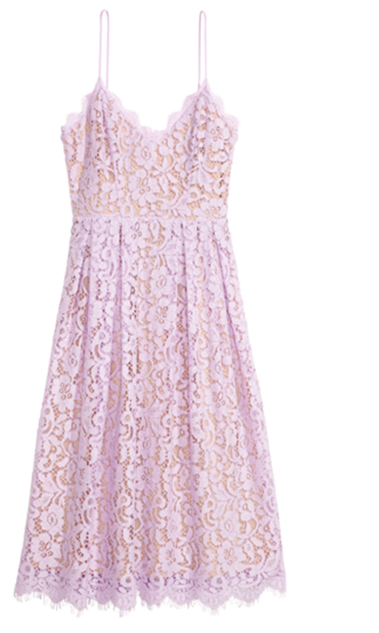 <p>This sweet and delicate pastel lace dress will stand out in the woods, at a garden, or by the beach.</p>