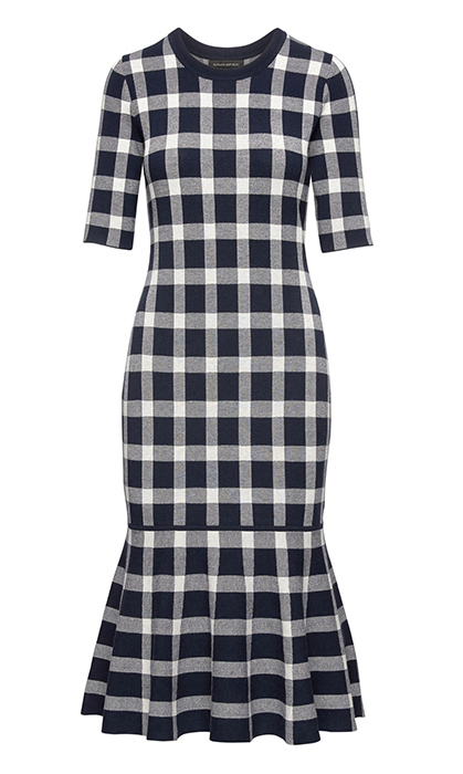 <p>The gingham sweater dress with its mermaid hemline will show off your figure. Accessorize with a bold belt to accentuate your waistline and add a pop of colour.</p>