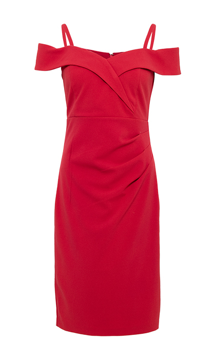 <p>A no-brainer for weddings or night outs, this crimson piece shows off your shoulders and décolleté.</p>