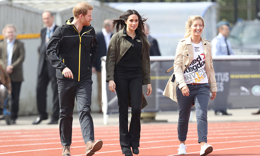 The duo arrived to watch the shot put trials, as well as the 1500m races, before heading inside to check out volleyball.