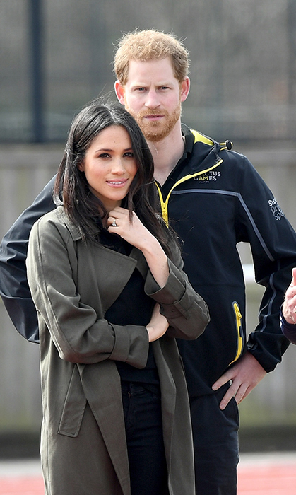<p>Meghan was the picture of chic in an army green trench coat by Canadian brand Babaton.</p>