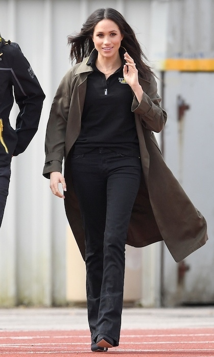 The former actress dazzled in yet another Canadian designer during her and Harry's royal engagement in Bath on April 6. The royal-to-be was the picture of chic in a khaki trench coat by Babaton for Aritzia. Paired with the trench, Meghan donned black bootcut jeans by Mother Denim and pointed black boots to bring the look together.