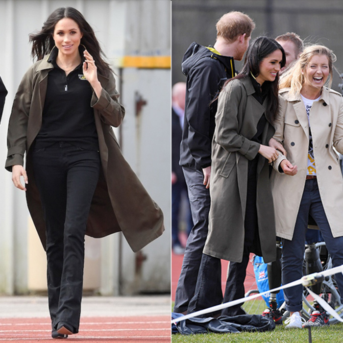 Meghan has quickly become one of the fashion world's it-girls when it comes to British royalty – and she always gives her outfits a particular Meghan flare. While on a royal outing with her fiancé in Bath on April 6, the former actress rocked a chic khaki Babaton for Aritizia trench coat, paired with black bootcut jeans and black pointed boots. This wins her major style points, especially for her outfit's Canadian edge!